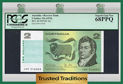 "TT PK 43c 1979 AUSTRALIA 2 DOLLARS ""SHEEP"" PCGS 68 PPQ TOP POP FINEST KNOWN!"