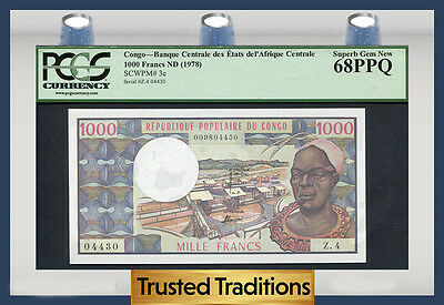 TT PK 3c 1978 CONGO 1000 FRANCS PCGS 68 PPQ SUPERB GEM NEW FINEST KNOWN!