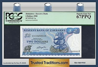 "TT PK 1a 1980 ZIMBABWE 2 DOLLARS ""WATER BUFFALO"" PCGS 67 PPQ SUPERB GEM NEW!"