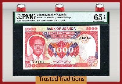 TT PK 23a 1983 UGANDA 1000/ - SHILLINGS PMG 65 EPQ GEM UNC POP ONE NONE FINER