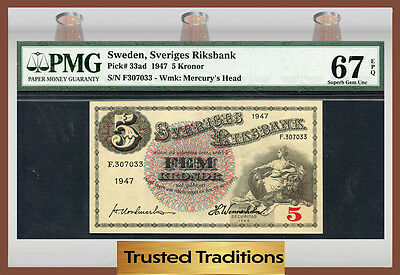 TT PK 33ad 1947 SWEDEN 5 KRONOR PMG 67 EPQ SUPERB GEM POP ONE FINEST KNOWN!