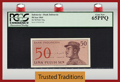 "TT PK 94a 1964 INDONESIA 50 SEN ""INDONESIA BANK"" PCGS 65 PPQ GEM NEW POP FOUR!"