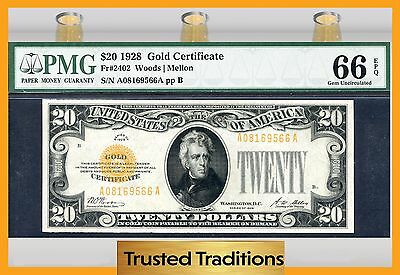 Tt Fr 2402 1928 $20 Gold Certificate Pmg 66 Epq Gem Uncirculated