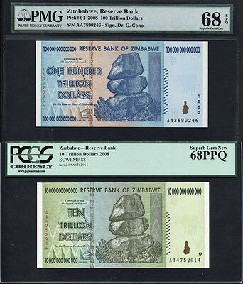 Tt Pk 91 & Pk 88 2008 Zimbabwe 100 & 10 Trillion Set Of 2 Notes Pmg 68 Epq