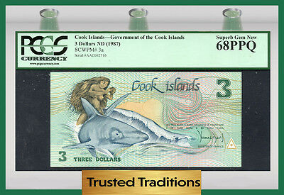 "TT PK 3a 1987 COOK ISLANDS 3 DOLLARS ""GOD TE-RONGO"" ""INA & SHARK"" PCGS 68 PPQ"