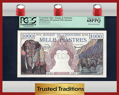 TT PK 84s1 1951 FRENCH INDO-CHINA 1000 PIASTRES PCGS 68 PPQ EXTRAORDINARY NOTE!