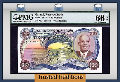 TT PK 16e 1983 MALAWI 10 KWACHA PMG 66 EPQ GEM UNCIRCULATED NONE FINER