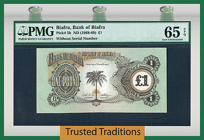 TT PK 5b 1968-69 BIAFRA 1 POUND PMG 65 EPQ GEM WITHOUT SERIAL NUMBERS!