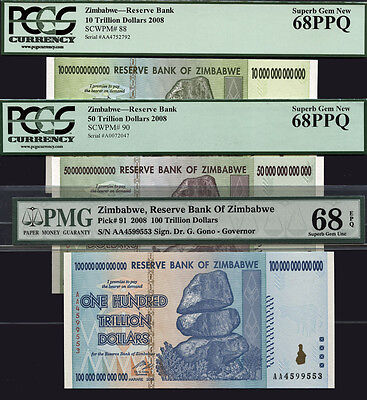 Tt Pk 91, 90 & 88 Zimbabwe 100, 50, 10 Trillion Set Of 3 Notes Pmg 68 Epq Superb