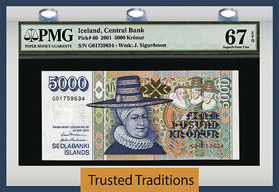 Tt Pk 60 2001 Iceland 5000 Kronur Pmg 67 Epq Superb Gem Uncirculated None Finer!