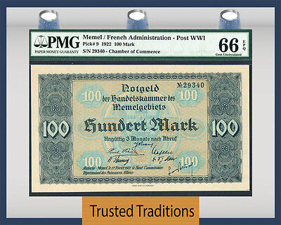 Tt Pk 9 1922 Memel / French Administration - Post Wwi 100 Mark Pmg 66 Epq Gem!