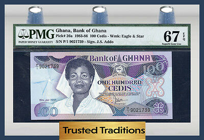 TT PK 26a 1983-86 GHANA 100 CEDIS PMG 67 EPQ SUPERB GEM POP ONE FINEST KNOWN!
