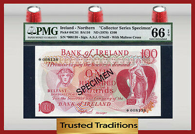 "Tt Pk 64Cs1 1978 Northern Ireland 100 Pounds ""specimen"" Pmg 66 Epq Gem!"