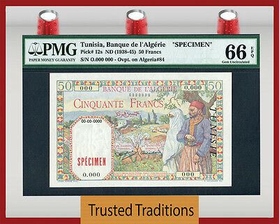 TT PK 12s 1938-45 TUNISIA 50 FRANCS PMG 66 EPQ GEM ONLY CERTIFIED EXAMPLE!