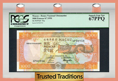 "TT PK 70a 1991 MACAU 1000 PATACAS ""STYLIZED DRAGON"" PCGS 67 PPQ SUPERB GEM NEW"
