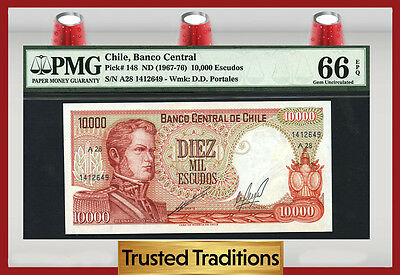 Tt Pk 148 1967-76 Chile 10,000 Escudos Pmg 66 Epq Gem Pop Three None Finer!