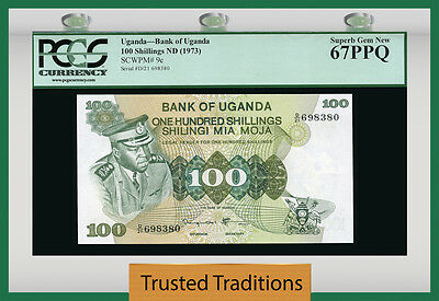 TT PK 9c ND 1973 UGANDA 100 SHILLINGS PCGS 67 PPQ SUPERB GEM NEW FINEST KNOWN