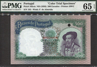 TT PK 162ct 1958 PORTUGAL 500 ESCUDOS D'ALMEIDA PMG 65 EPQ GEM NONE FINER BY PMG