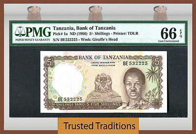TT  PK 1a 1966 TANZANIA 5/ SHILLINGS PMG 66 EPQ GEM POP TWO NONE FINER