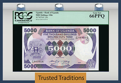 TT PK 24b 1986 UGANDA 5000 SHILLINGS PCGS 66 PPQ GEM NEW NONE FINER!