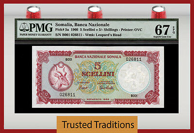 TT PK 5a 1966 SOMALIA 5 SCELLINI = 5 SHILLINGS PMG 67 EPQ SUPERB FINEST KNOWN!