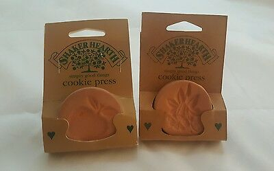 2 Wilton Shaker Hearth Clay Flower &  Apple Cookie Presses 1996 Brand New