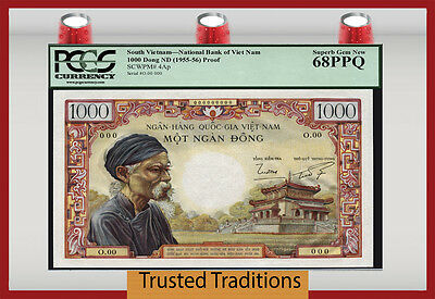 TT PK 4aP SOUTH VIETNAM 1000 DONG OLD MAN AT THE TEMPLE HOLY GRAIL PCGS 68 PPQ !