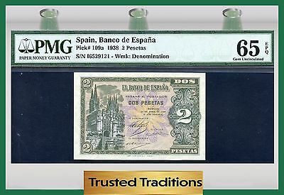 TT PK 109a 1938 SPAIN 2 PESETAS PMG 65 EPQ GEM UNCIRCULATED POP TWO