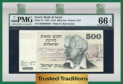 Tt Pk 42 1975 Israel 500 Lirot Pmg 66 Epq Gem Pop Three!