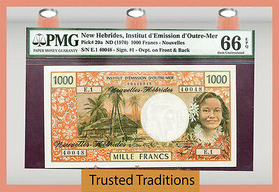 "TT PK 20a 1970 NEW HEBRIDES 1000 FRANCS ""KAGU BIRD AND DEER"" PMG 66 GEM"
