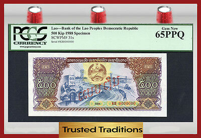TT PK 31s 1988 LAO 500 KIP PCGS 65 PPQ GEM NEW ONLY EXAMPLE FOUND ON EBAY!