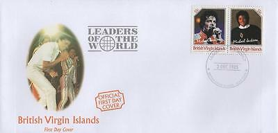 MICHAEL JACKSON VIRGIN ISLANDS 55c PAIR OF UNISSUED STAMPS ON FIRST DAY COVER