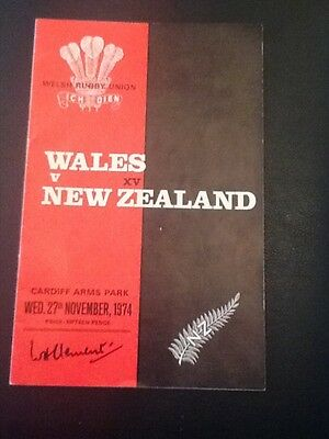WALES v NEW ZEALAND ALL BLACKS  RUGBY PROGRAMME 1974