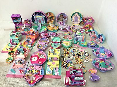Huge Lot of Vintage Polly Pocket 20 Compacts House Playsets and 40 Dolls Figures