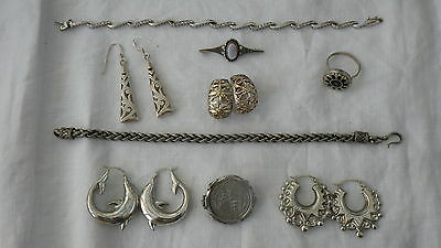 Silver Vintage Antique Costume Jewellery Earrings Ring Bracelet Coin Job Lot