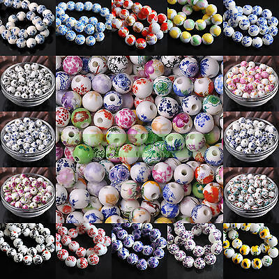 20pcs 10/12mm Round Flower Pattern Ceramic Porcelain Loose Spacer Beads Charms