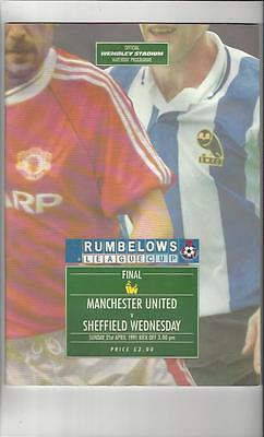 Manchester United v Sheffield Wednesday League Cup Final Programme 1991