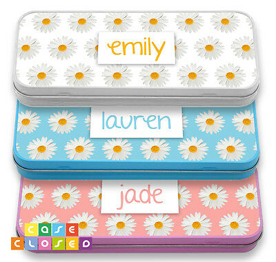PERSONALISED DAISY FLORAL Make up bag Pencil Case Tin School Kids Stationary Fun