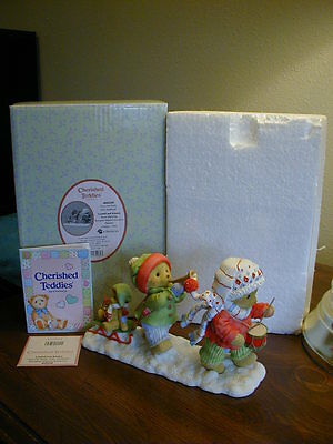 """Cherished Teddies Lyndell and Kinsley SIGNED """"Join Our Holly Jolly Jamboree"""""""