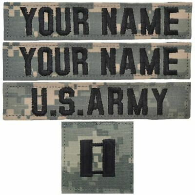 Custom 4 Piece Name Tape Set w/ Hook Fastener Backing- ACU