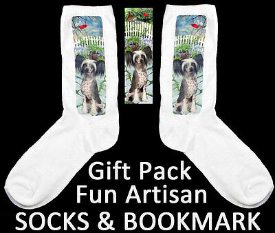CHINESE CRESTED Dog ART-Socks & BOOKMARK Laws Card Artisan GIFT Idea Ladies 9-11