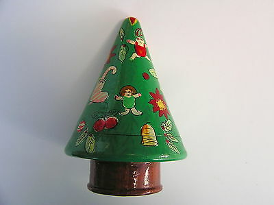 "Vintage Wooden Christmas Tree Nesting Doll 4 Pieces 5"" High Rare"
