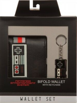 Nintendo NES Controller Gift Box Set Bifold Wallet and Keychain, New