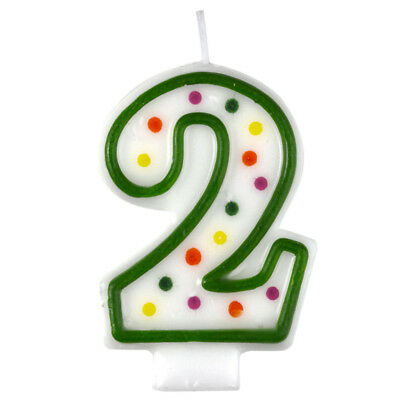 Polka Dot Candle 2 Quality Kids Birthday Cake Age Number Cute Decoration Amscan