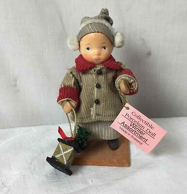 Show Stoppers Boy w/ Ear Muffs & Lantern Porcelain Doll Winter Xmas Assortment