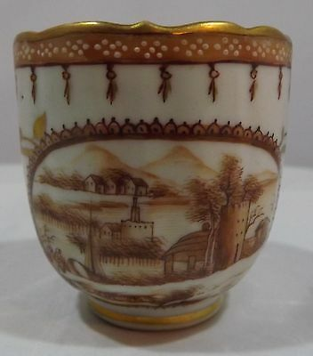 ANTIQUE C19th SMALL CHINESE EXPORT CUP WITH LANDSCAPE DECORATION