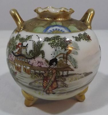 Vintage Noritake Hand-Painted Bulbous Vase Oriental Decoration Made In Japan