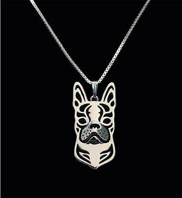 Boston Terrier Dog Pendant Necklace Silver Plated ANIMAL RESCUE DONATION