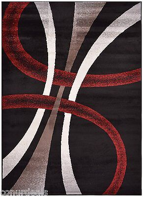 Red Black White Cappuccino Stripes Geometric Area Rug Rugs Mat 2x3 2x7 5x7  8x10
