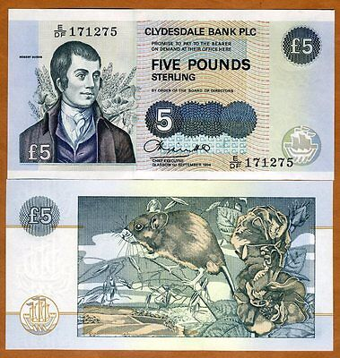 Scotland, Clydesdale Bank, 5 pounds, 1994, P-218b, UNC > Robert Burns